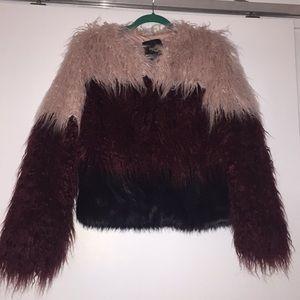 Multi-color faux fur jacket